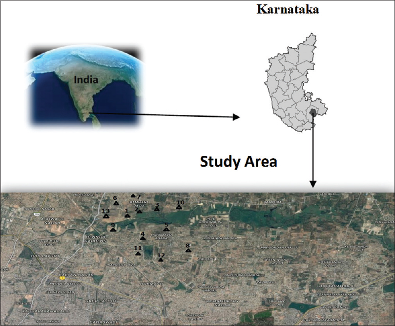 Figure 1: Sampling sites in the study area (Bengaluru City- North East)