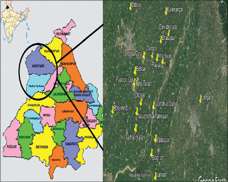 Figure 1: The studied locations of Punjab state