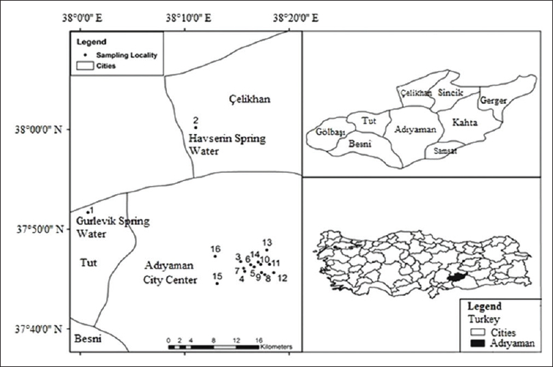 Figure 1: The water sampling locations