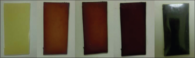 Figure 6: The color of the nonconjugated conductive polymer changes from transparent to dark as more iodine interacts and becomes bound. The molar concentration of iodine corresponding to the darkest color (extreme right) is about 0.8